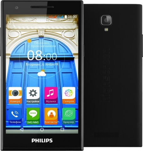 "Смартфон Philips S396 Black (5.0"" IPS (1280x720), Quad-Core (1.0Ghz), 1GB, 8GB, Wi-Fi, Dual microSIM, LTE, BT, Front 8Mp, Rear 8Mp, Android 5.1)"